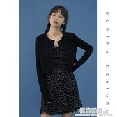 黑色針織開衫bm風外套針織衫春秋季新款薄款長袖短款上衣女裝 完美居家