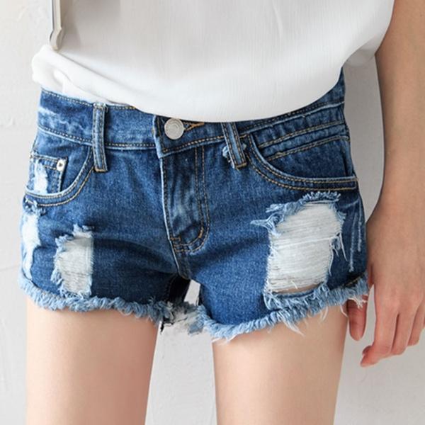 MIUSTAR 魔力美臀下擺抽鬚刷破牛仔短褲(共1色,S-L)【NJ1537EP】預購