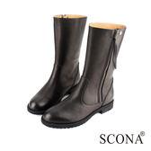 SCONA 全真皮 極簡百搭側拉中筒靴 黑色 8771-1