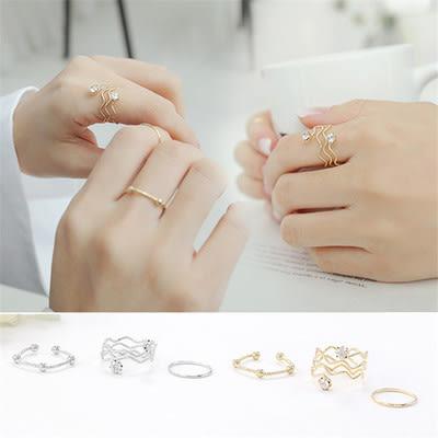 Qmigirl 韓版流行雙鑽波浪紋設計金屬三件套戒指指環【QG2137】