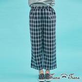 【Tiara Tiara】 復古風格紋寬版長褲(藏青)