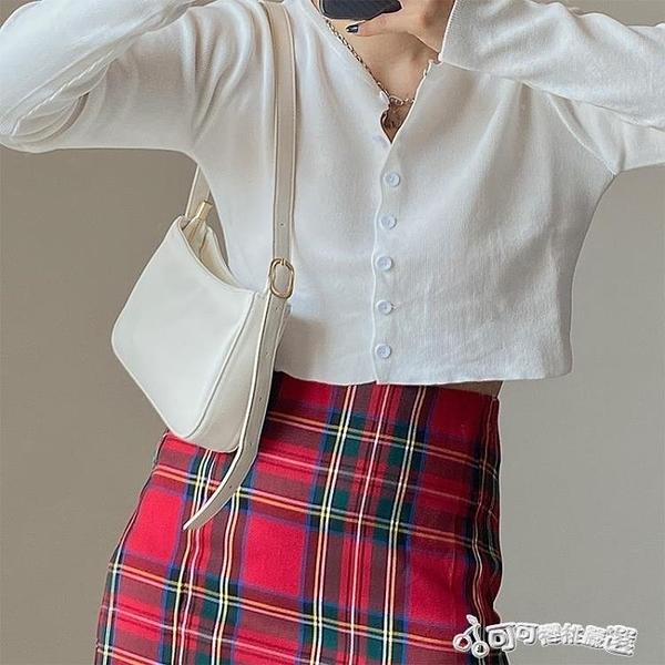 腋下包 包包女韓版2020新款ins復古百搭單肩腋下包法棍包單肩包手提包包