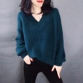 網紅港風毛衣女套頭2019春秋裝新款韓版寬鬆外套慵懶風針織打底衫 依凡卡時尚