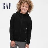 Gap男童 簡約插肩袖運動連帽外套 541099-黑色