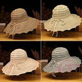 遮陽帽 新品帽子女正韓潮帽漁夫帽遮陽防曬布帽棉質太陽帽蝴蝶結