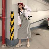 背帶裙 早秋韓版女裝復古chic無袖開叉連衣裙寬松顯瘦背帶裙初戀女裙子 99免運 萌萌