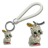 【貓粉選物】貓粉鑰匙圈 白色皮繩+鑽石貓 時尚滿點