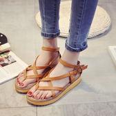 韓國新款夾趾涼鞋女平底羅馬鞋休閒厚底楔形百搭沙灘鞋學生女鞋夏 美芭