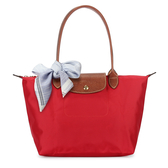 LONGCHAMP經典長提把小型尼龍摺疊水餃包(紅色-含帕巾)480111-16