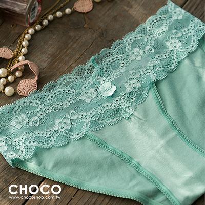 Choco Shop-簡約原色‧彈力蕾絲花邊棉質內褲(蘋果綠) S~L