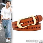 雙11特價 女士皮帶牛仔褲百搭真皮純牛皮時尚韓國簡約復古ins風裝飾腰帶女