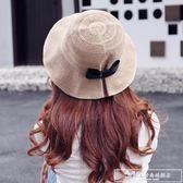 帽子夏天漁夫帽女韓國休閒潮百搭防曬遮陽帽出游大沿沙灘帽太陽帽『韓女王』