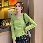 長袖T恤女上衣韓版~7062#牛油果綠修身純棉長袖T恤女抽繩V領打底衫上衣短款顯高ZLE02快時尚