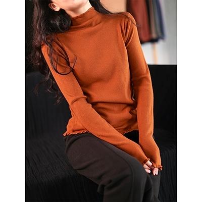 莫代爾包芯紗長袖針織衫 半高領純色保暖打底毛衣/8色-夢想家-1123