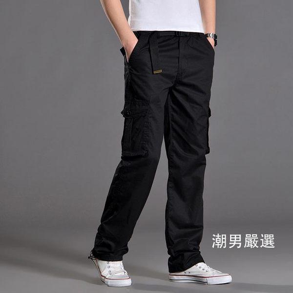 工作褲夏季男褲大尺碼戶外寬鬆多口袋工裝褲厚款男休閒褲長褲棉質工作褲子M-3XL