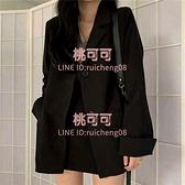黑色小西裝女韓版寬鬆百搭休閒英倫鹽系炸街外套【桃可可服飾】