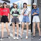 【GZ45】S21#網紅風牛仔褲女夏新款韓版百搭高腰卷邊闊腿短褲學生熱褲