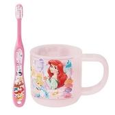 小禮堂 迪士尼 公主 兒童牙刷漱口杯組 旅行牙刷組 附牙刷蓋 3-5歲適用 (藍 大臉) 4973307-46766