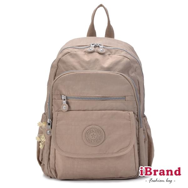 iBrand後背包 簡約素色超輕盈尼龍多功能後背包-時尚杏 TGT-1503