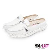 真皮穆勒鞋 拖鞋 俐落知性風格全真皮磁石內增高氣墊球囊穆勒鞋-MIT手工鞋(純真白) Normlady 諾蕾蒂