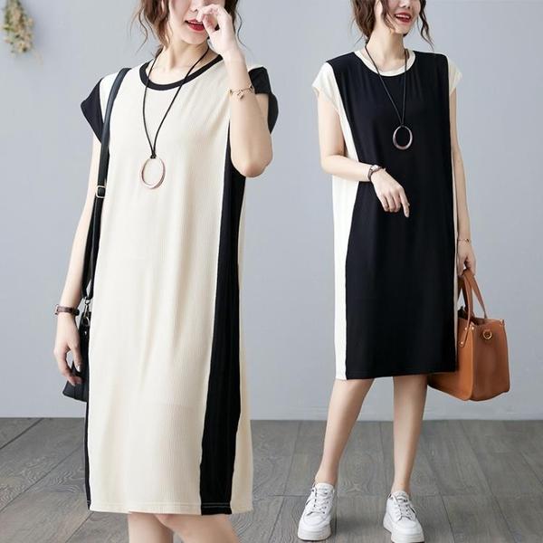 中大尺碼 無袖洋裝 文藝氣質無袖打底連身裙2021夏季韓版撞色寬鬆顯瘦背心中長款裙子