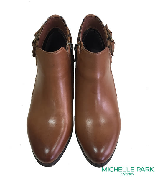 MICHELLE PARK 真皮X豹紋短靴 *咖啡色