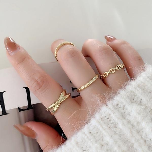 戒指.韓版精緻交叉麻花鍊條四件組.白鳥麗子