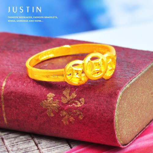 Justin金緻品 黃金女戒指 財運滿載 金飾 純金女戒 招財 招福 9999純金 銅板 納財