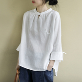 純棉T恤 圓領貼布上衣 純色九分袖打底衫/2色-夢想家-0108