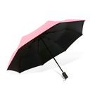 傘霸 格紋黑膠晴雨兩用三折傘粉格