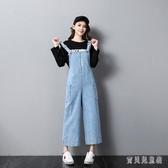 牛仔背帶褲女學生韓版寬鬆2020夏季新款小個子百搭高腰九分闊腿褲 yu13055『寶貝兒童裝』