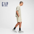 Gap男裝 運動鬆緊直筒短褲 689825-灰白色
