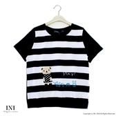 【INI】注目條紋、小熊拼布可愛好感上衣.黑色