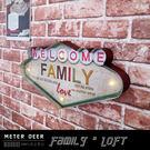美式復古大型鐵牌招牌立體造型氣氛壁燈工業風welcome family鐵皮畫牆面懷舊掛飾-米鹿家居