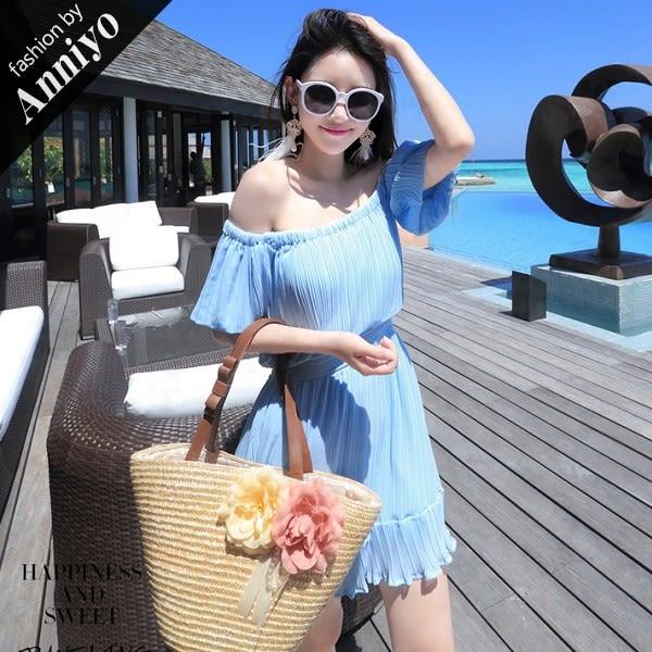 Anniyo安妞‧一字領平口露肩氣質純色抽皺短袖波希米亞度假仿真絲沙灘裙連衣裙洋裝‧藍色 7872
