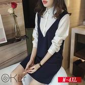 假兩件條紋襯衫甜美連衣裙 M-4XL O-Ker 歐珂兒 138812-C2