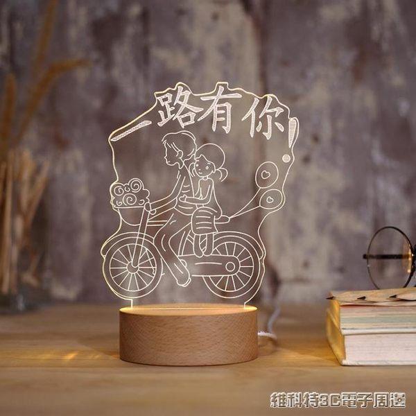 3D台燈臥室床頭創意立體夢幻溫馨節能小夜燈插電喂奶迷你麋鹿城堡 全館免運