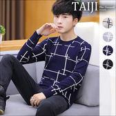 大尺碼針織衫‧線條設計圓領針織衫針織毛衣‧四色‧加大尺碼【NTJBM15】-TAIJI-