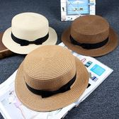 青年草帽遮陽帽子潮女夏天小辣椒蝴蝶結草編英倫禮帽防曬沙灘帽子