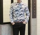 找到自己 品牌 時尚休閒 男士 人頭像數碼印花襯衫 立領襯衫 長袖襯衫