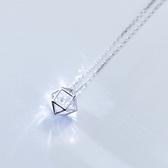 925純銀 立體空心幾何 白水晶 裸銀素銀 鎖骨項鍊-銀 防抗過敏 不退色