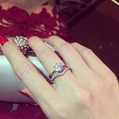 戒指 韓國奢華鑲嵌鋯石王冠組合戒指鴿子蛋鉆戒 巴黎春天