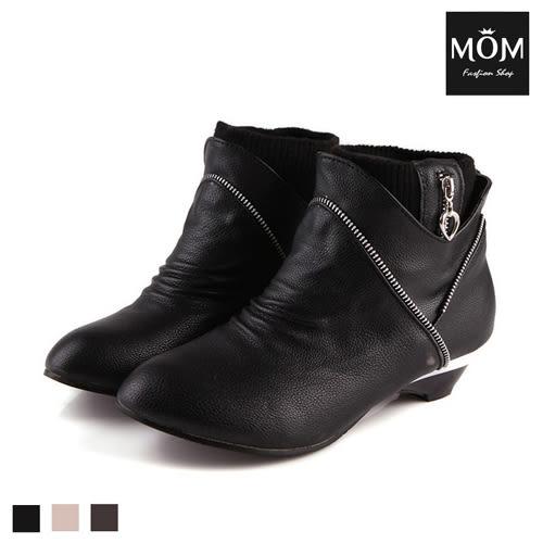 NG福利品出清 時尚拉鍊造型帥氣小短靴 裸靴【現貨】 *MOM*