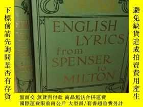 二手書博民逛書店ENGLISH罕見LYRICS FROM SPENSER TO