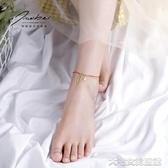 腳鍊女雙層腳鍊女紅繩韓版簡約個性古風森繫腳飾女款小眾設計感飾品 大宅女韓國館