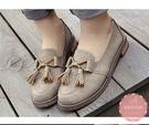 福樂鞋 圓頭流蘇點綴粗低跟 休閒鞋 皮鞋 懶人鞋*Kwoomi-A31