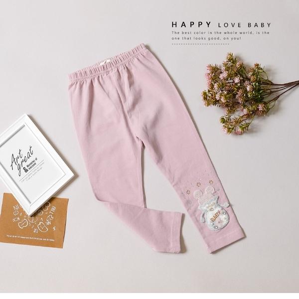 粉色貼鑽珍珠可愛米奇毛線繡內搭褲 打底褲 長褲 舒適 氣質 甜美 女童裝 女童褲 童裝