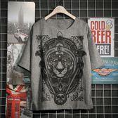夏季男士棉麻短袖半袖日繫復古中國風獅子學生仿亞麻潮流寬鬆T恤