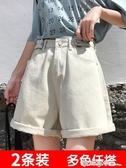 闊腿牛仔短褲女夏寬鬆2020新款外穿超高腰顯瘦a字米白色熱褲潮ins 西城故事