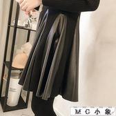 皮褲 新款韓版修身顯瘦針織氣質皮裙